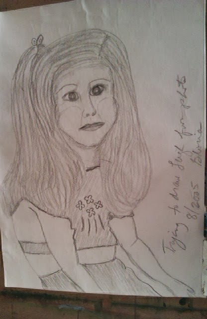 Pencil drawing of Leigh my youngest daughter when she was 4; by Gloria Poole