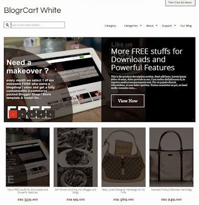 BlogrCart White Shopping Cart blogger shopping gratis 2018 2019 2020