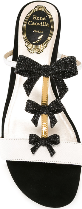Rene Caovilla Embellished Black Bow Sandals