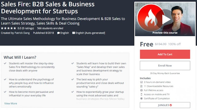[100% Off] Sales Fire: B2B Sales & Business Development for Startups| Worth 194,99$