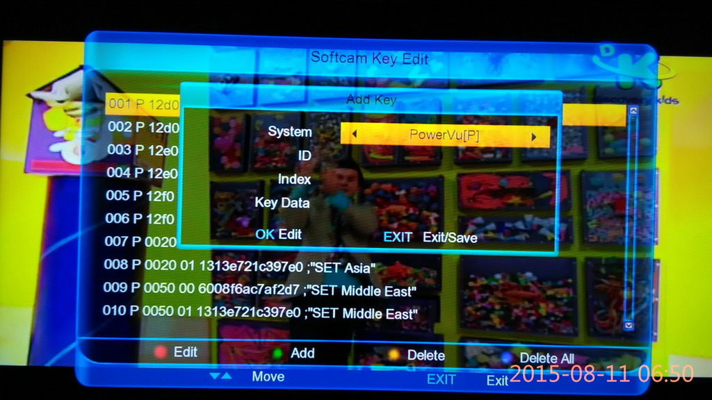 PowerVU Key Insert Manual Methood Receiver & PC DVB-S ~ SKY