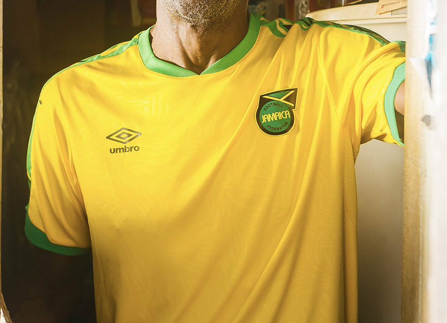 5cbc6d377 The new Umbro Jamaica home jersey features the country s traditional  vibrant yellow color with striking black