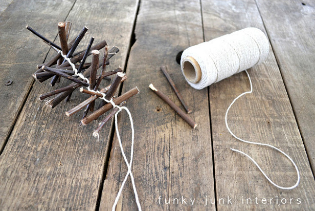 How to make a twig garland with video, via https://www.funkyjunkinteriors.net/