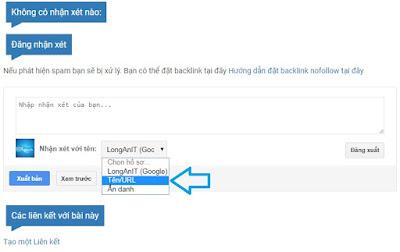 Chọn kiểu comment với Tên / URL như hình