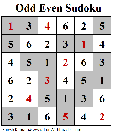Odd Even Sudoku (Mini Sudoku Series #100) Solution