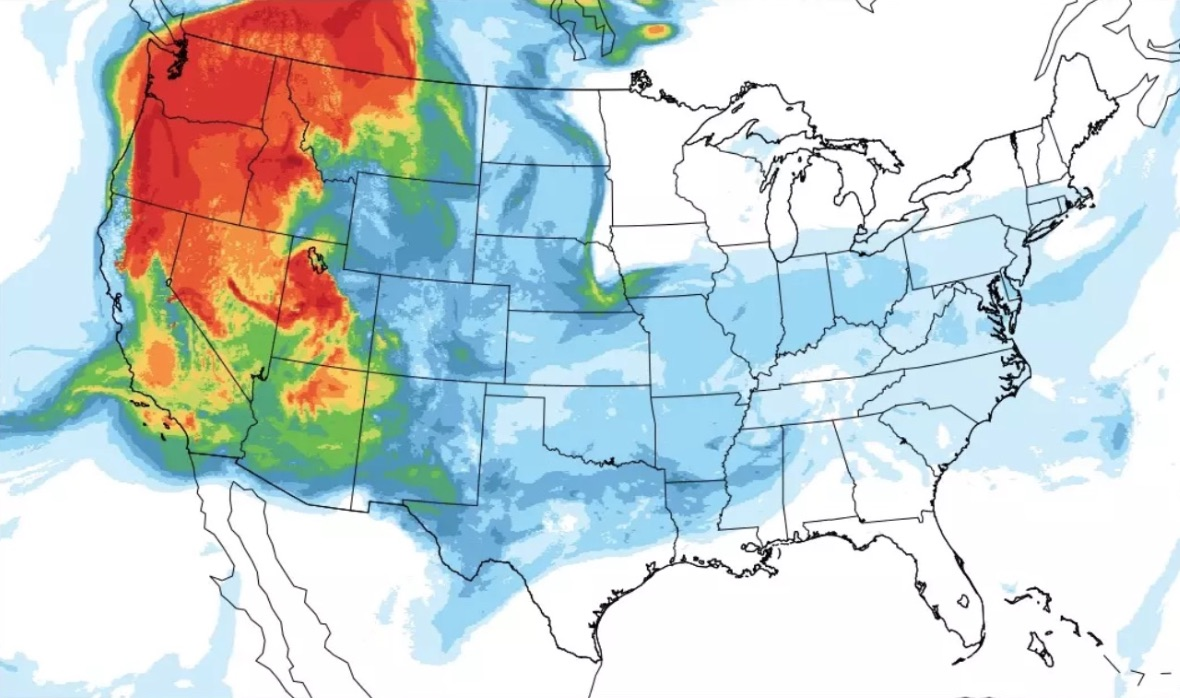 smoke from the wildfires burning in california and other western states is beginning to show up in the upper atmosphere over pennsylvania and other areas of