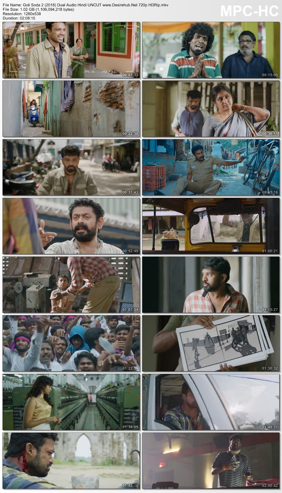 Goli Soda 2 (2018) Hindi Dubbed 720p HDRip 1GB Desirehub