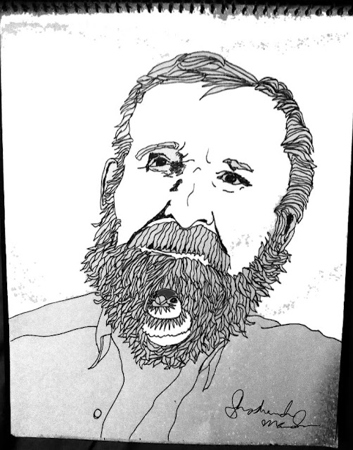 "Andrew Ettinger with a Double Barred Finch in his beard. (For my upcoming coloring book, ""Birds in Beards."")"