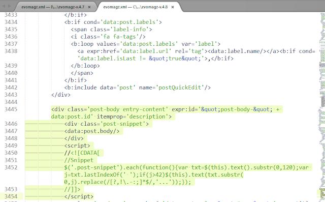 kode snippet blog evo yang baru