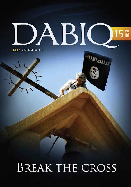 """A resposta do Estado Islâmico: """"Arrebentaremos vossas Cruzes"""" (revista Dabiq, número 15)."""