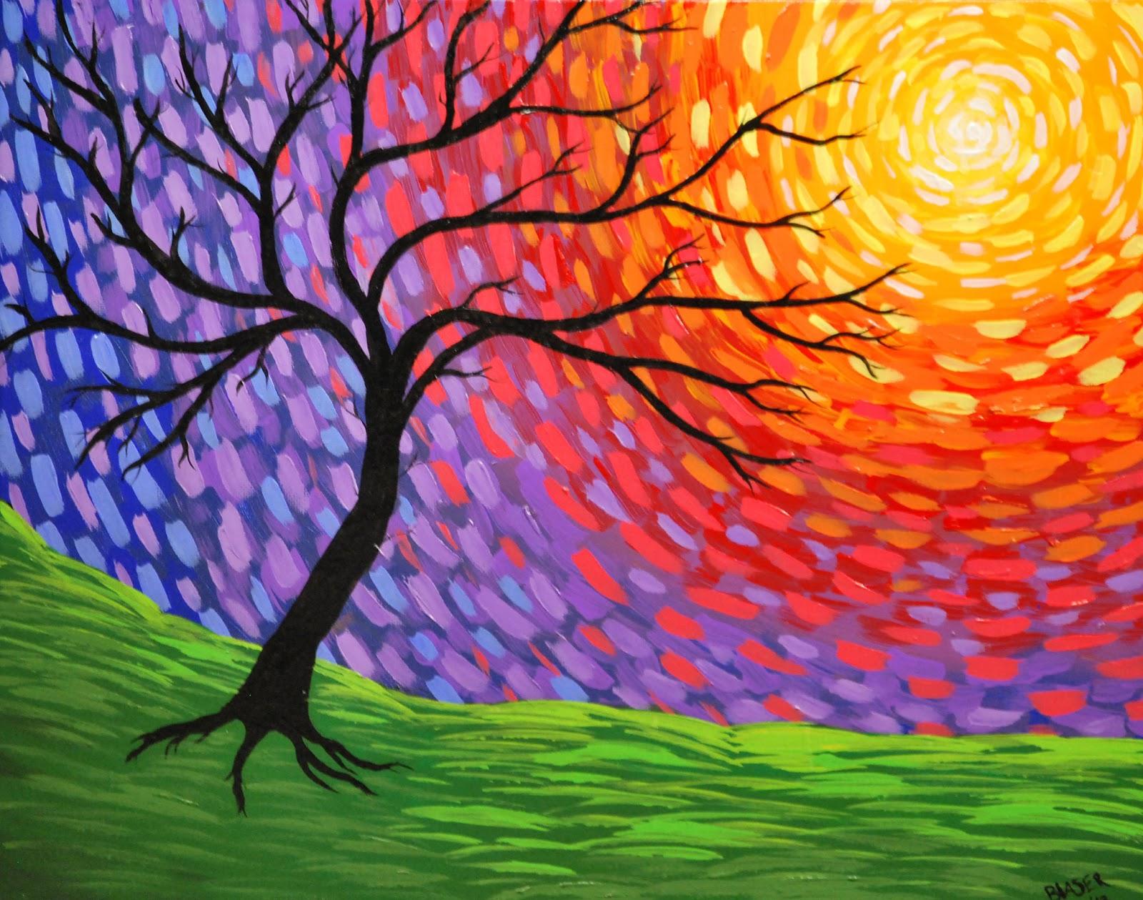 New Art Abstract Tree Painting Prismatic Awakening