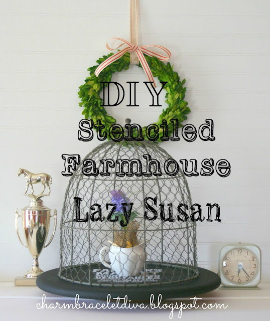 diy painted stenciled farmhouse lazy susan