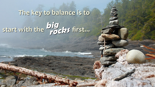 A cairn of beach rocks on a Vancouver Island beach...