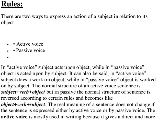 Rules Of Active And Passive Voice Pdf