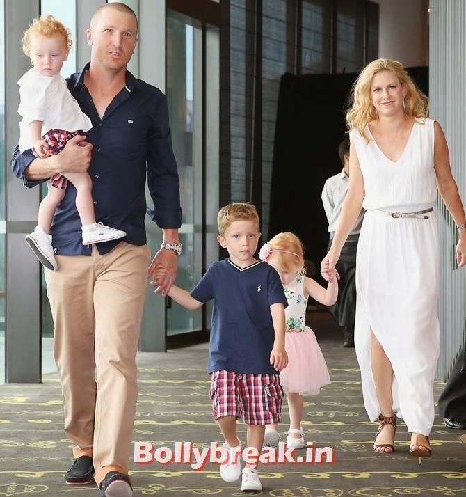 Brad Haddin of Australia poses with his wife Karina Haddin and children Mia, Hugo and Zac, Australian Cricketers WAGS
