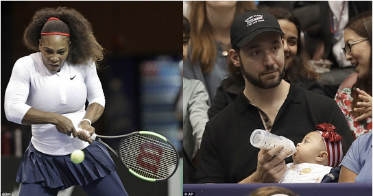 Alexis-Ohanian-babysitting-in-the-crowd-at-the-2018-Fed-Cup