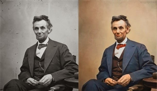 28 Realistically Colorized Historical Photos Make the Past Seem Incredibly Alive - Abraham Lincoln, 1865