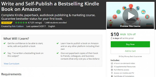 [92% Off] Write and Self-Publish a Bestselling Kindle Book on Amazon| Worth 125$