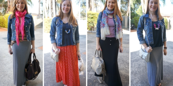 4 ways to wear maxi skirt and denim jacket outfit ideas | AwayFromBlue blog