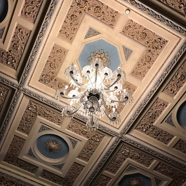 Impressive ceiling in The Blue Room at Thoresby Hall, Nottinghamshire