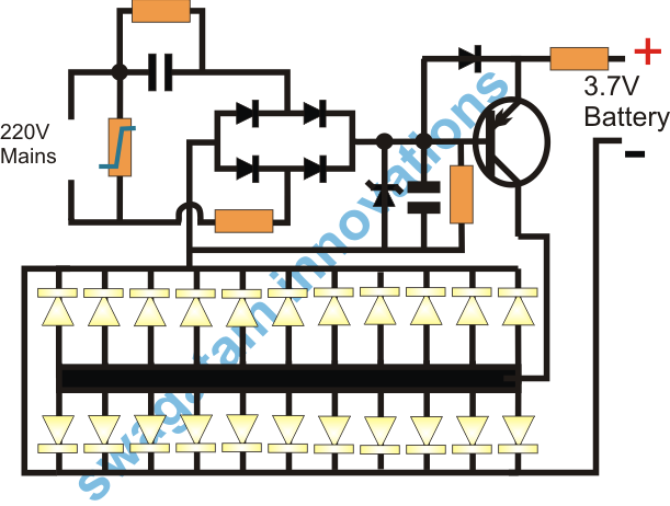 component layout for simplest emergency lamp circuit