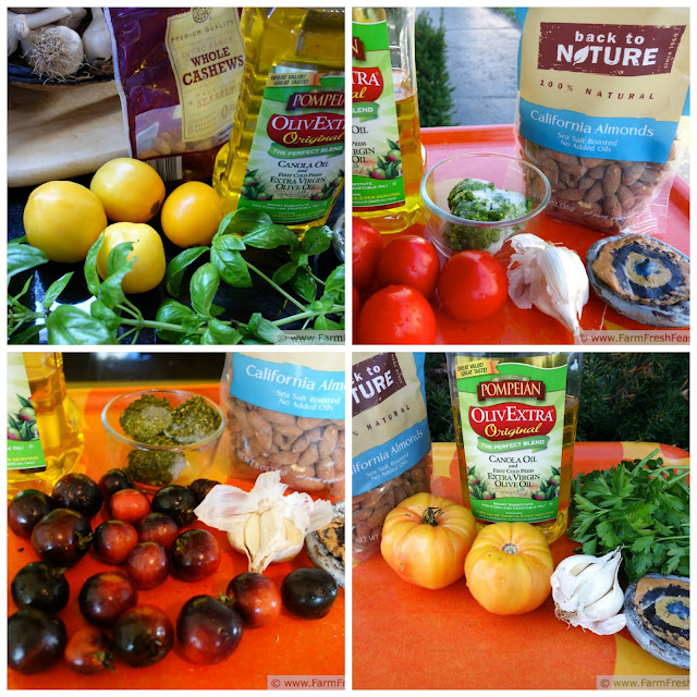 a collage of the different combinations of tomatoes and nuts used to make fresh tomato pesto