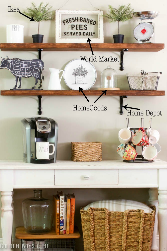 DIY wood shelves with sources for decorative items