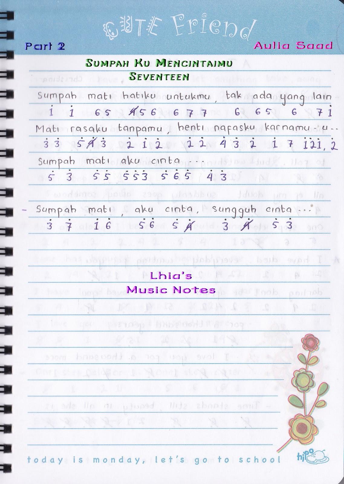 Catatan Not Lagu Seventeen Sumpah Ku Mencintaimu Piano Pianika Pemula Lhia S Music Notes