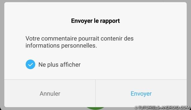 Envoyer rapport bugs - Xiaomi codes