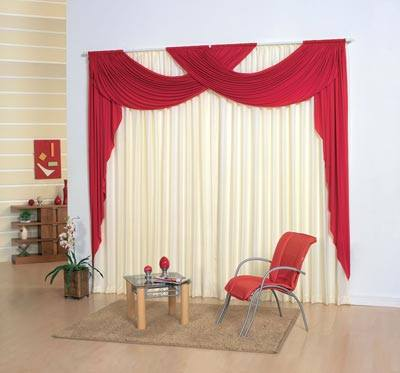 modern white and red curtain designs for living room