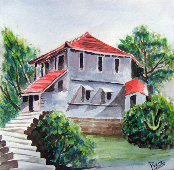 Watercolor Painting of House Landscape