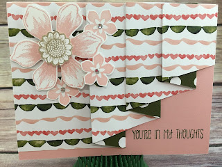 "This Blushing Bride and Mossy Meadow Thinking of You card uses Stampin' Up!'s: Beautiful Bunch stamp set, Fun Flower punch, and more!  It's the Drapery Fold Technique using Birthday Bouquet Designer Paper: cut paper to 4 x 11 1/2; score at 3, 4, 6, 7, 9, 10.  Make a pencil mark at 1 5/8 on the end opposite of the first 3"" score mark and cut with paper trimmer from that pencil mark to the very first 3"" score mark.  Tutorial for 4 classes (including this card) only $10.  See ""Events"" at www.stampwithjennifer.blogspot.com.  It's the May 2016 Tutorials.  Thanks!"