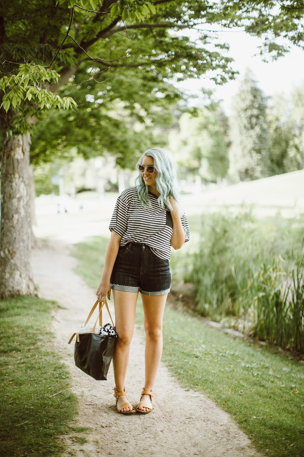 Lake Outfit, Striped Shirt, Mint Hair, Utah Fashion Blogger