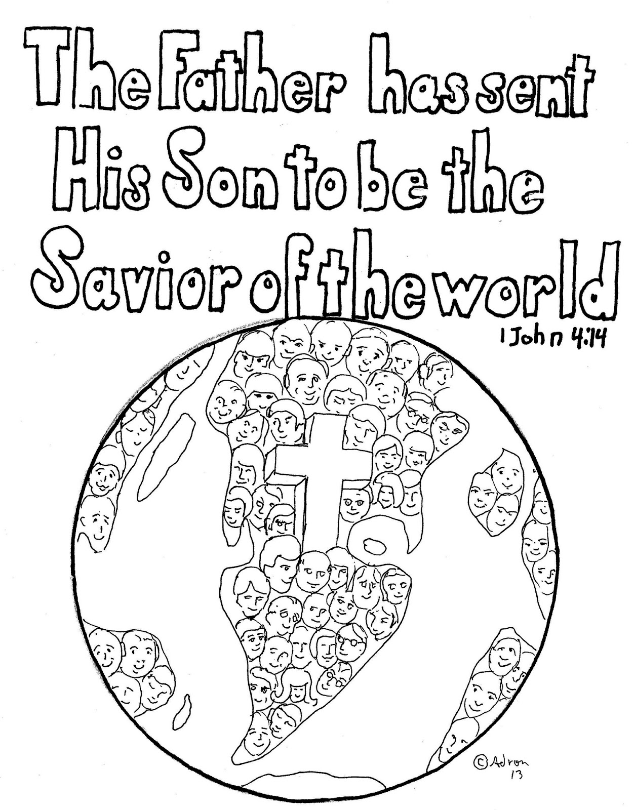Coloring Pages for Kids by Mr. Adron: 1 John 4:14 Free