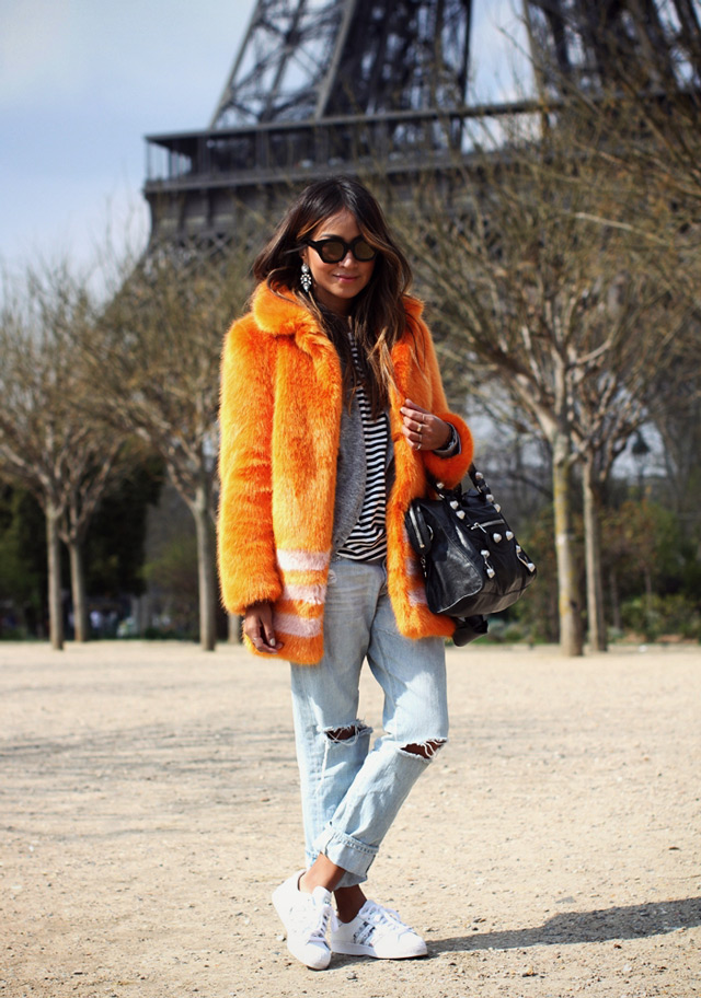 How to wear multi colored faux fur coat, winter 2014 big tend, Sincerely Jules wearing multicolor faux fur coat by Shrims