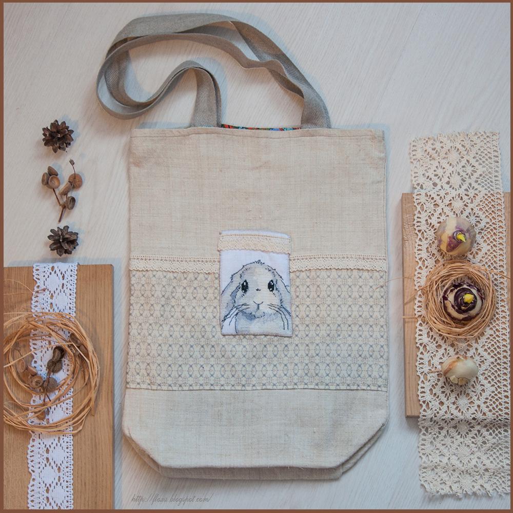 сумка с вышивкой, торба с вышитым кроликом, сумка своими руками