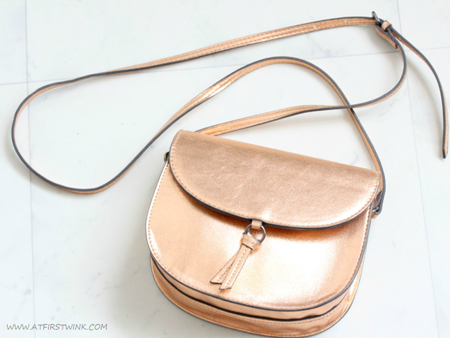 Metallic bronze bag from Mango