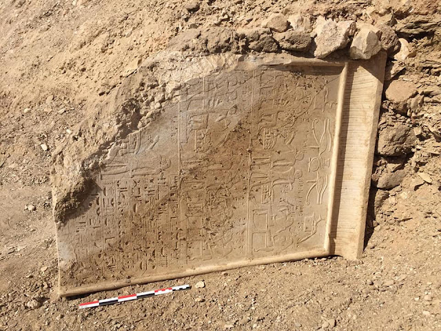 Limestone stela and wooden sarcophagus unearthed in Luxor
