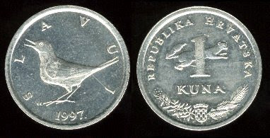 Croatia 1 Kuna (1993+) Nightingale Coin