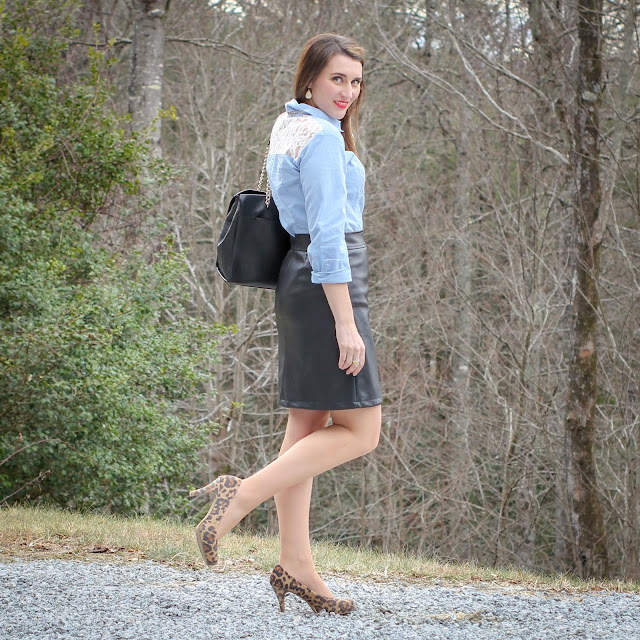 Faux Leather Skirt // Chambray and Lace Top // Leopard Heels