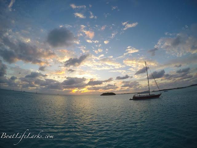 Sailboat at anchor at sunset, Emerald Rock, Exuma Land and Sea Park