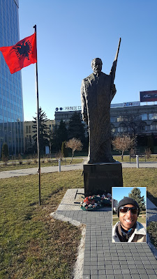 Statues to Albanian heroes all over the place