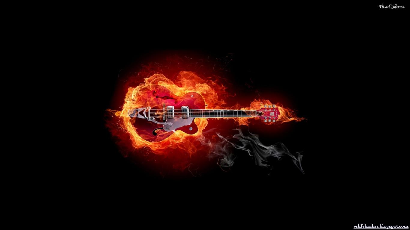 Flaming Guitars Digital Art Hd Wallpaper: V!kΛsђ ŝђäЯMä: WIDESCREEN DESKTOP WALLPAPERS