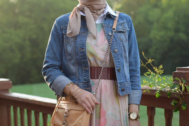 A Day In The Lalz; Fashion Blog; Chicwish Spring Scenery Floral Maxi Dress; Denim Jacket; Fashion; Modesty; Fashion Blog; Fall Beauty; Fall Trends; Fashion Style; Fashion Trends; Fall Fashion; Summer to Fall Floral; Midi Dress