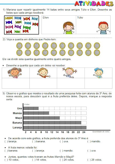 Atividades - Ideia da divisão, Gráfico, Operações e Horas - página 1