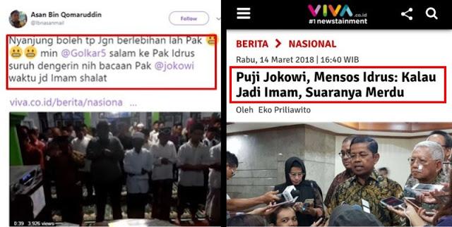 Sebut Jokowi Kalau Jadi Imam 'Suaranya Merdu', Mensos Idrus Kena 'Skakmat' Warganet dengan BUKTI Video