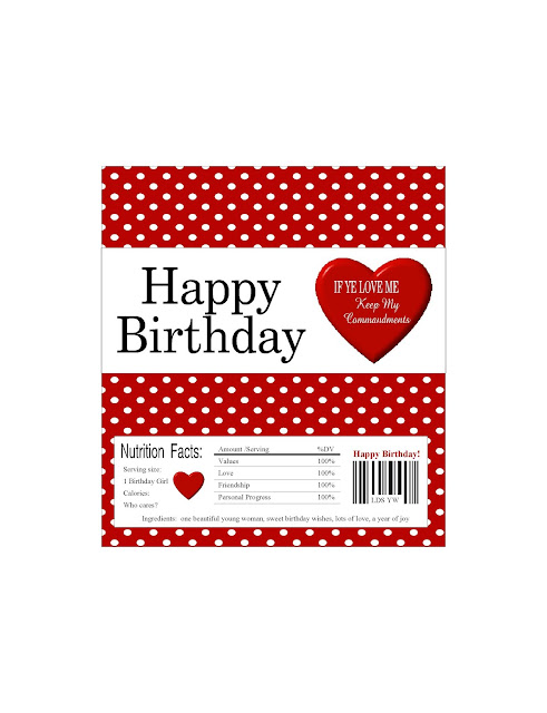 LDS 2019 Young Women Birthday Candy Bar Wrapper