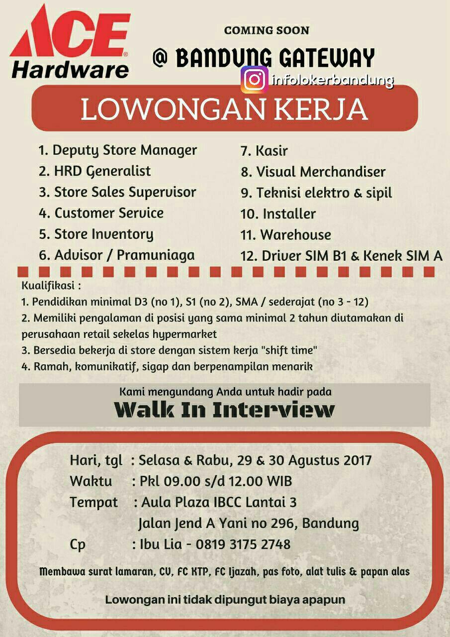 Lowongan kerja Ace Hardware ( Walk in Interview ) Bandung Agustus 2017