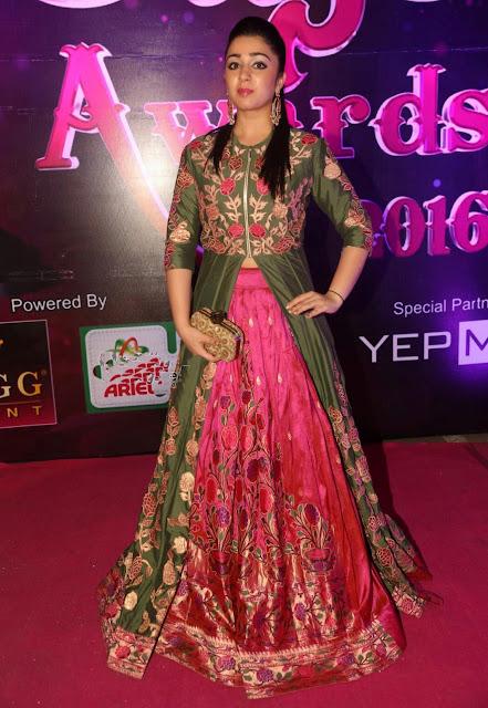 Charmi Kaurpythani  in Silk Lehenga at Apsara Awards 2016
