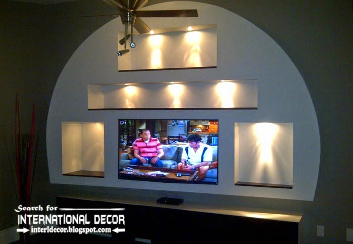 built in shelves and TV shelves of plasterboard with led lighting